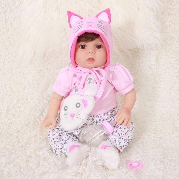 Cute Reborn Girl Lifelike Newborn Silicone Baby Doll 20inch