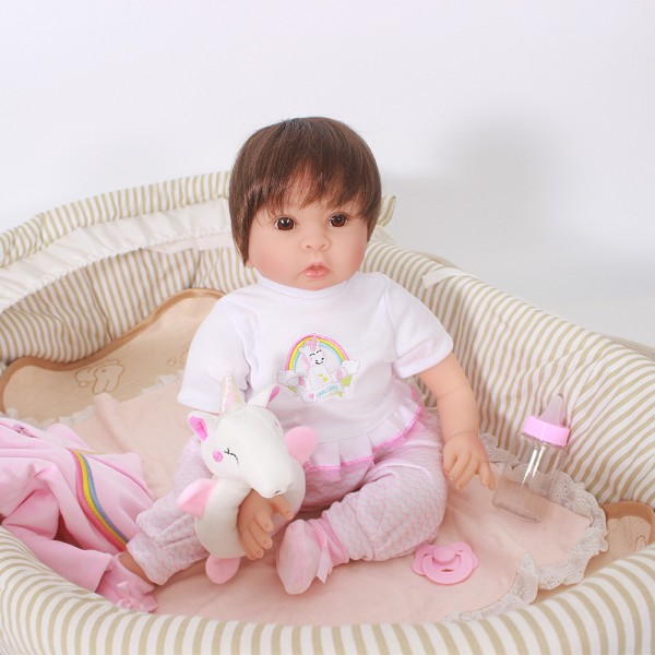 Reborn Baby Girl Doll In Unicorn Clothes Lifelike Silicone Baby Doll 20inch