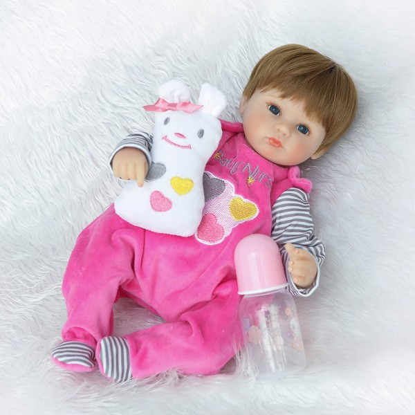 Reborn Baby Girl Doll In Pink Romper Lifelike Silicone Baby Doll 16inch