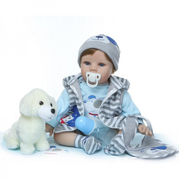 Reborn Boy Doll Blue Eyes Lifelike Realistic Silicone Baby Doll 22inch
