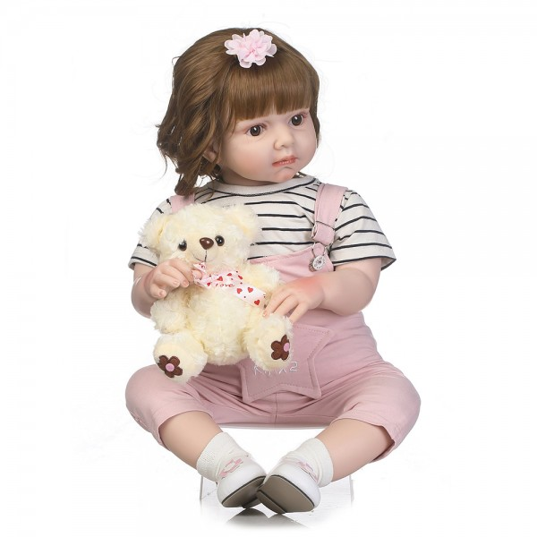 Reborn Toddler Girl Doll Lifelike Silicone Girl Doll 27.5inch