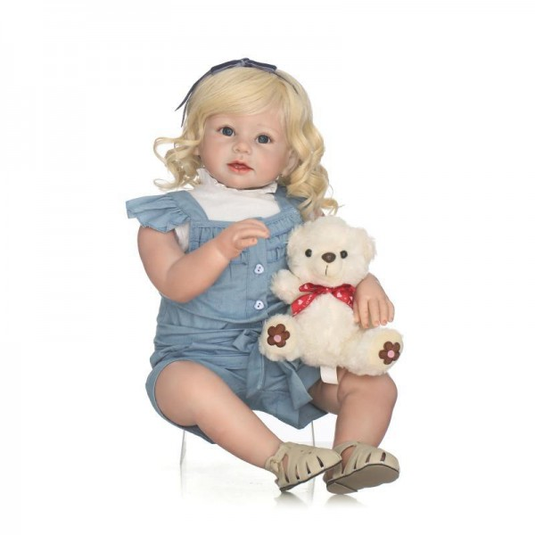 Reborn Toddler Girl Doll Blonde Hair Lifelike Silicone Girl Doll 27.5inch