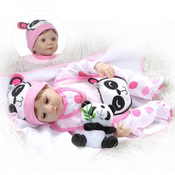 Reborn Baby Girl Doll Blink Eyes Lifelike Poseable Silicone Doll 22inch