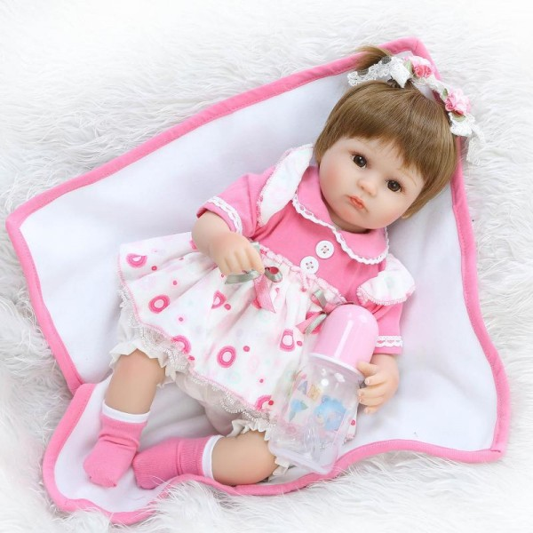 Poseable Reborn Girl Doll In Pink Dress Lifelike Silicone Baby Doll 16.5inch