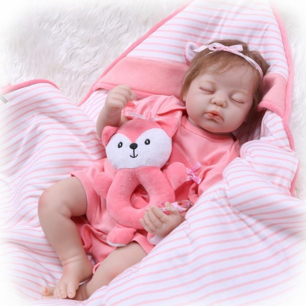 Sleeping Baby Doll In Pink Romper Silicone Lifelike Reborn Girl Doll 22inch