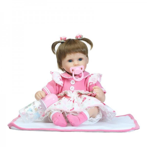 Lifelike Cute Reborn Girl Doll In Dress Silicone Baby Doll 16inch
