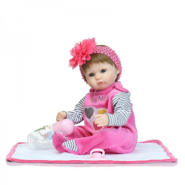 Poseable Reborn Baby Doll In Rose Romper Silicone Lifelike Girl Doll 16inch