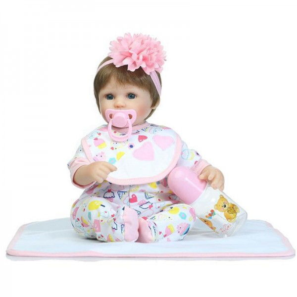 Realistic Reborn Baby Doll Lifelike Soft Silicone Poseable Girl Doll 16inch