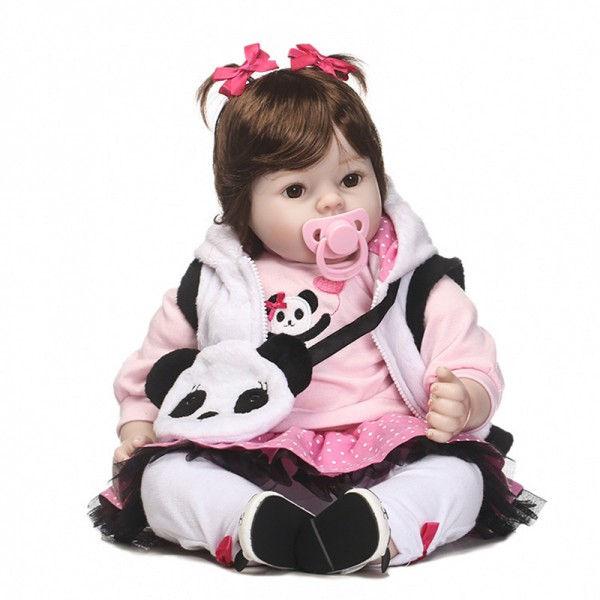 Lifelike Cute Poseable Girl Doll Silicone Realistic Reborn Baby Doll 20inch