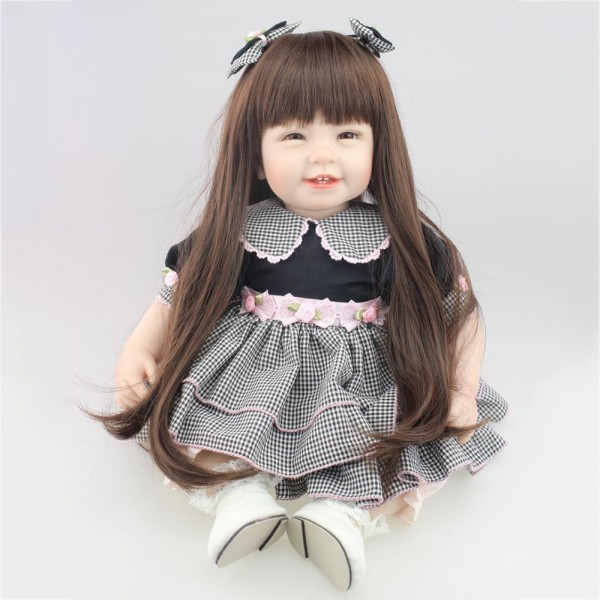 Realistic Smile Reborn Baby Doll Long Hair Lifelike Silicone Baby Girl Doll 22inch