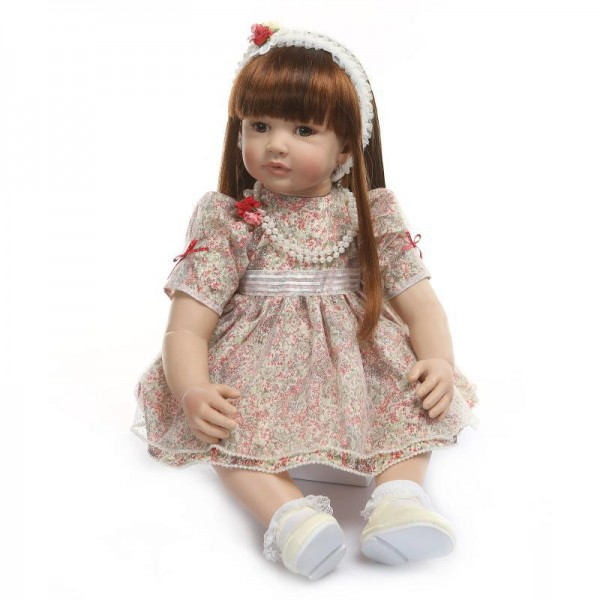 Reborn Toddler Girl Doll Lifelike Realistic Silicone PP Cotton Doll 24inch