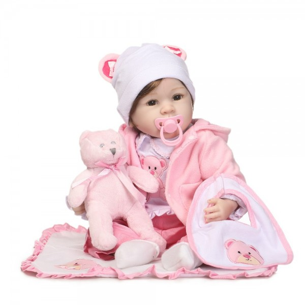 Sweet Reborn Baby Doll Lifelike Realistic Silicone PP Cotton Girl Doll 22inch