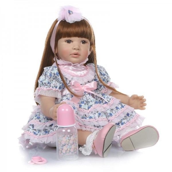 Lifelike Reborn Toddler Girl Doll Long Wig Hair Silicone Doll 24inch