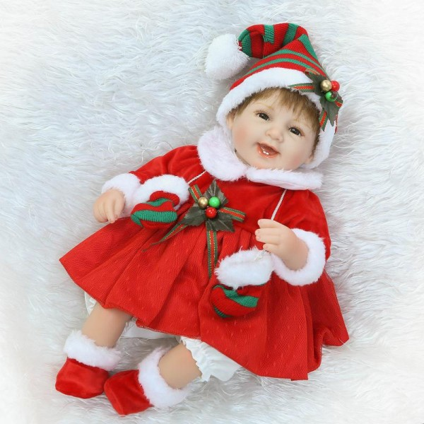 Christmas Reborn Baby Doll Lifelike Silicone Poseable Boy Girl Doll 16inch