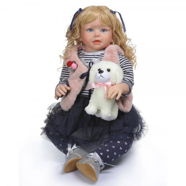 Reborn Toddler Girl Doll Blonde Hair Poseable Lifelike Silicone Girl Doll 27.5inch