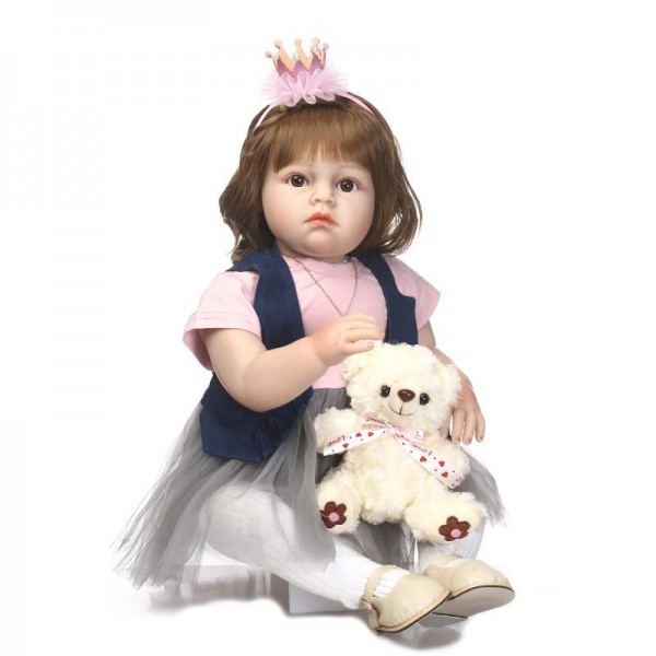 Reborn Toddler Girl Doll Poseable Lifelike Silicone Girl Doll 27.5inch