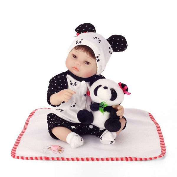 Cute Panda Reborn Baby Doll Realistic Lifelike Boy Girl Doll 16inch