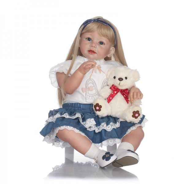 Pretty Reborn Toddler Girl Doll Lifelike Silicone Girl Doll 27.5inch