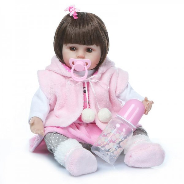 Poseable Big Eyes Reborn Baby Doll Silicone Lifelike Girl Doll 16inch