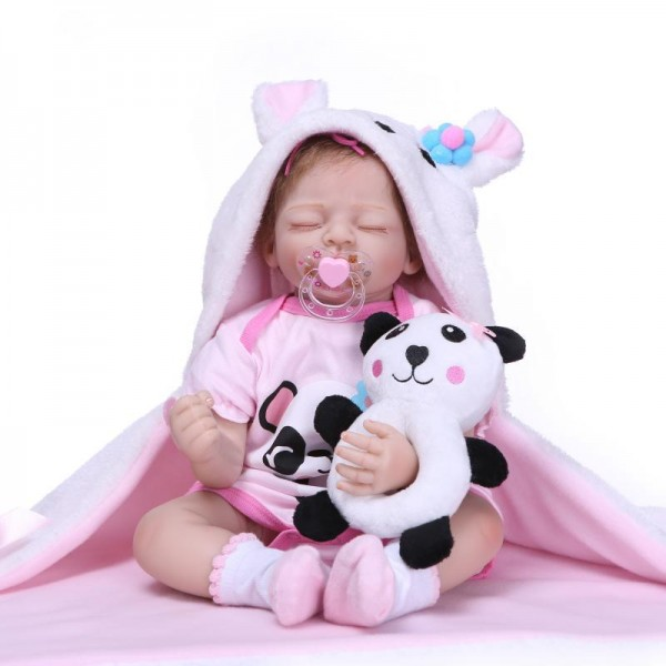 Poseable Sleeping Reborn Baby Doll Lifelike Realistic Silicone Girl Doll 20inch