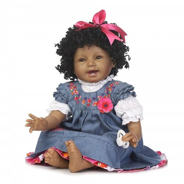 Realistic Black Doll African American Black Reborn baby Doll Girl 22inch