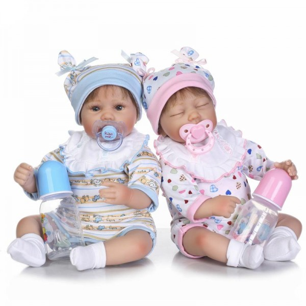 New Arrival Twin Babies Silicone Reborn Baby Dolls 16inches