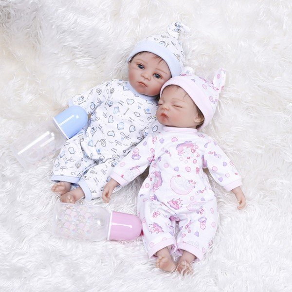 Pink And Blue Reborn Baby Very Soft Twins Mini Baby Dolls 14inche