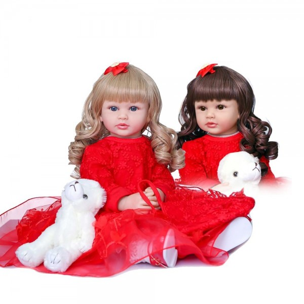 Two Colors Hair Lifelike Newborn Doll Soft Silicone Realistic Reborn Toddler Girl 24inche