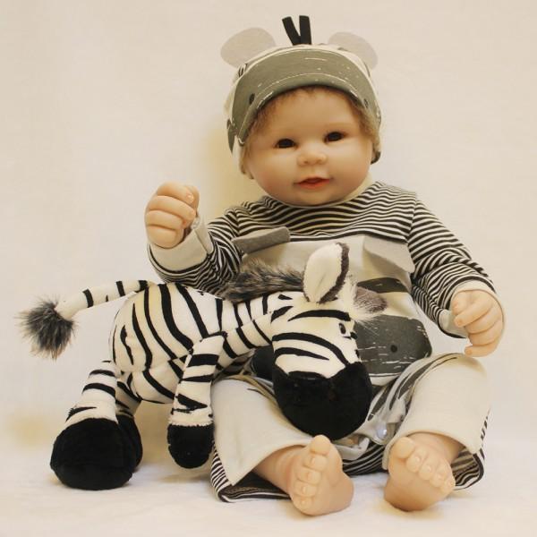 Reborn Boy Doll In Zebra Romper Lifelike Realistic Silicone Vinyl Baby Boy Doll 20inch