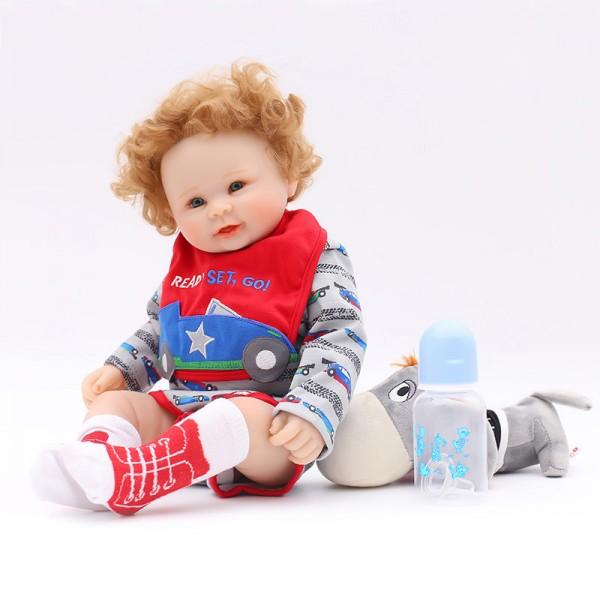 Cute Reborn Boy Doll Lifelike Realistic Curly Hair Silicone Baby Doll 20inch