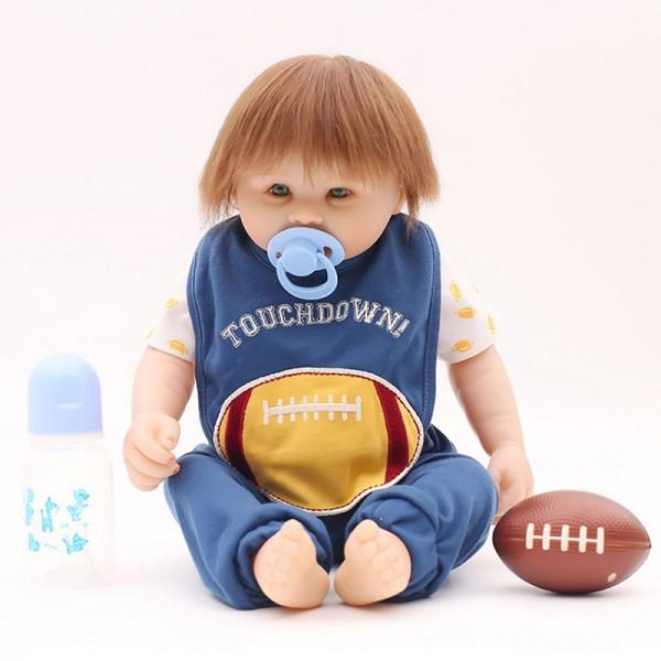 Reborn Baby Boy Doll In Rugby Romper Lifelike Realistic Silicone Doll 20inch