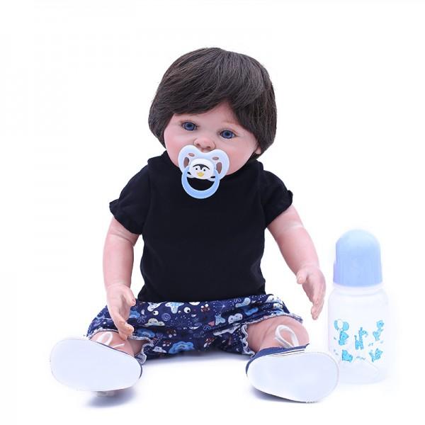 Realistic Reborn Boy Doll Lifelike Silicone Vinyl Baby Boy Doll 18inch