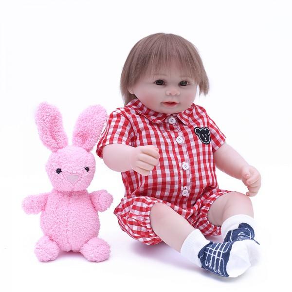 Silicone Reborn Boy Doll In Grid Romper Lifelike Realistic Baby Doll 19inch