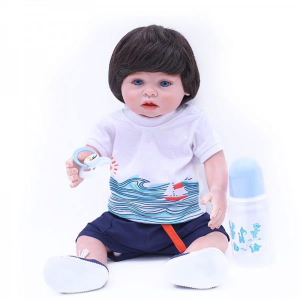Real Reborn Boy Doll Lifelike Silicone Vinyl Baby Boy Doll 18inch