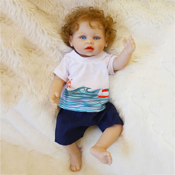 Blue Eyes Reborn Baby Boy Doll Lifelike Realistic Curly Hair Silicone Doll 16inch