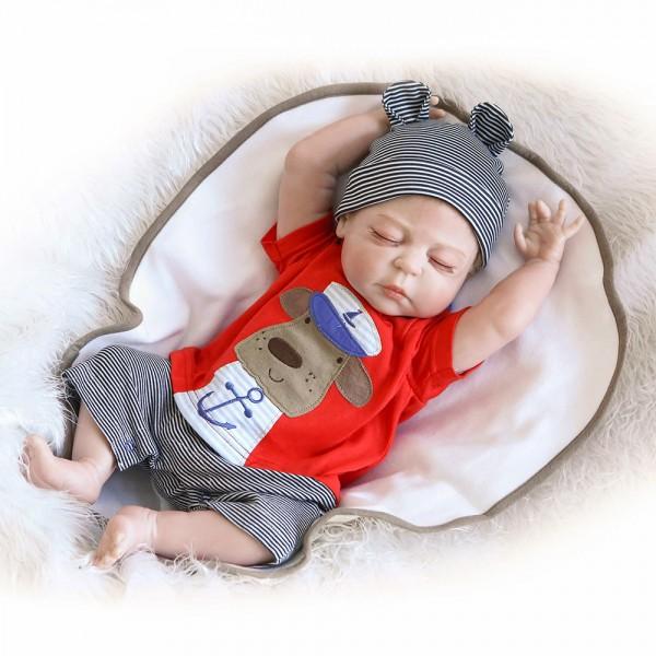 Sleeping Reborn Boy Doll Lifelike Realistic Silicone Vinyl Baby Boy Doll 22inch