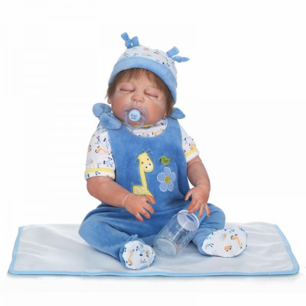 Silicone Sleeping Reborn Baby Boy Doll Lifelike Poseable Newborn Doll 22.5inch