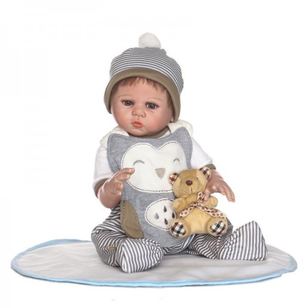 Lifelike Reborn Boy Doll In Romper Realistic Silicone Baby Boy Doll 20inch With Toy
