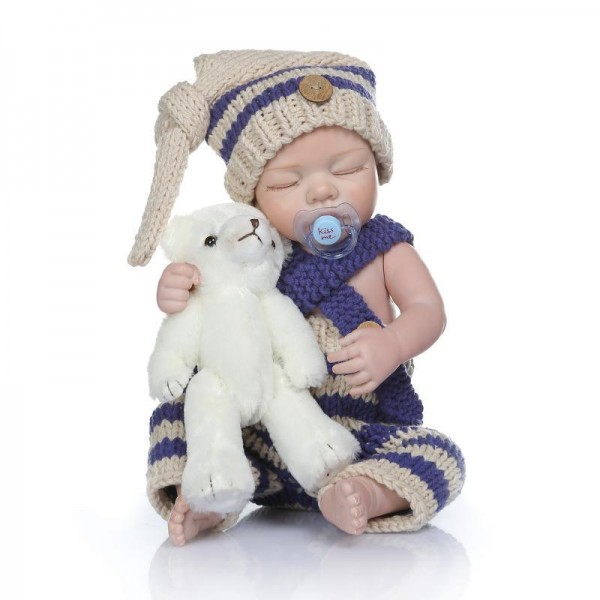 Sleeping Reborn Baby Boy Doll Lifelike Poseable Silicone Newborn Doll 20inch