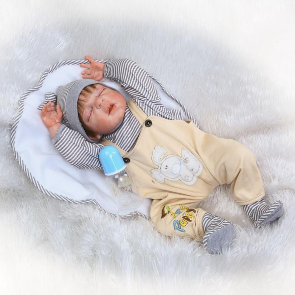 Cute Newborn Sleeping Baby Boy Doll Rooted Mohair Lifelike Silicone Reborn Doll 22.5inch