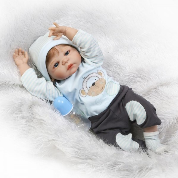 Cute Reborn Baby Boy Doll Silicone Lifelike Newborn Boy Doll 22.5inch