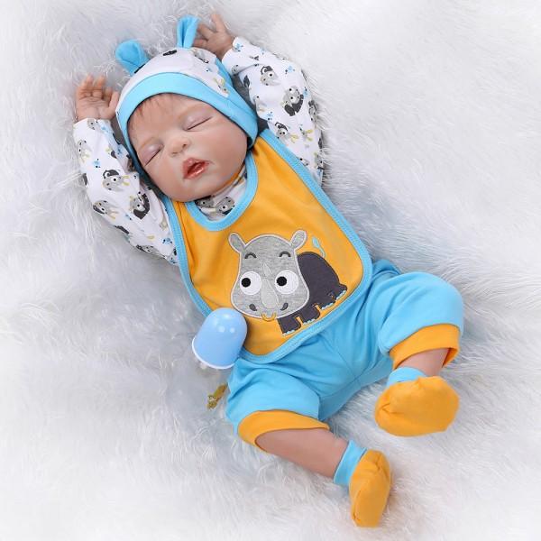 Silicone Sleeping Reborn Baby Doll Realistic Lifelike Newborn Boy Doll 22inch