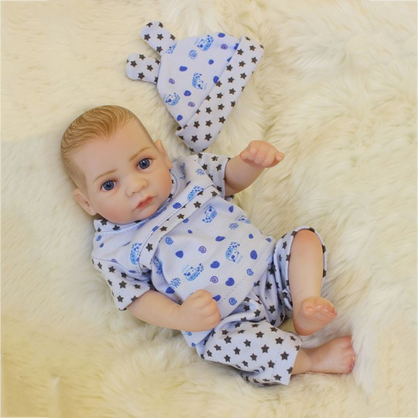 Silicone Mini Reborn Boy Doll Lifelike Poseable Preemie Baby Doll 10inch