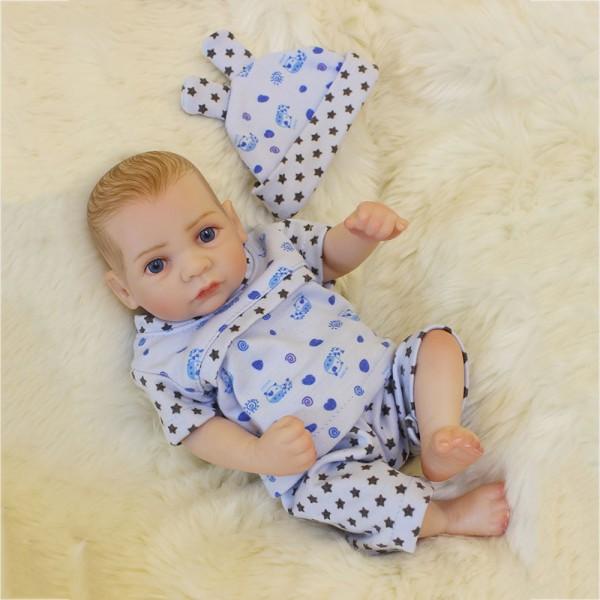 Silicone Mini Reborn Boy Doll Lifelike Poseable Preemie Baby Doll 10inch