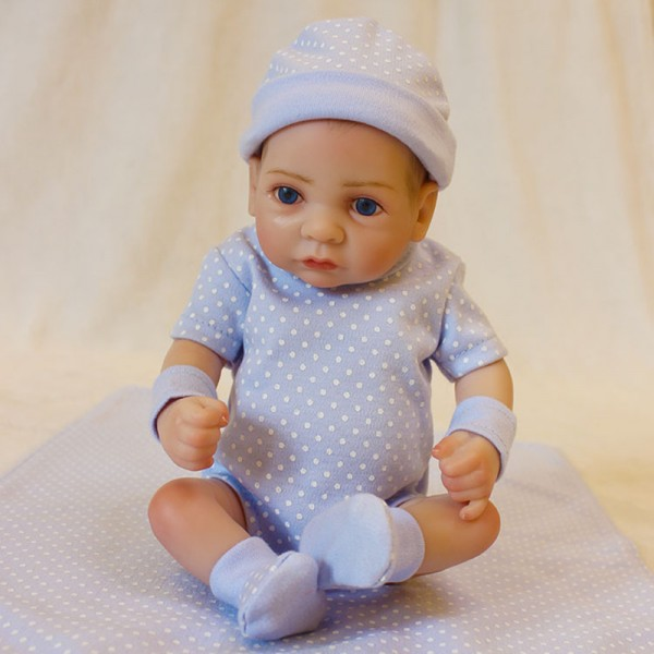 Lifelike Mini Reborn Boy Doll Preemie Silicone Painted Hair Baby Doll 10inch