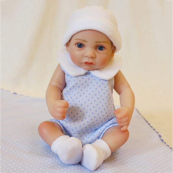 Handsome Realistic Reborn Baby Boy Doll Blue Eyes Lifelike Silicone Boy Doll 10inch