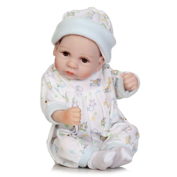 Reborn Boy Doll Lifelike Poseable Silicone Preemie Baby Doll 10inch With Basket Pillow