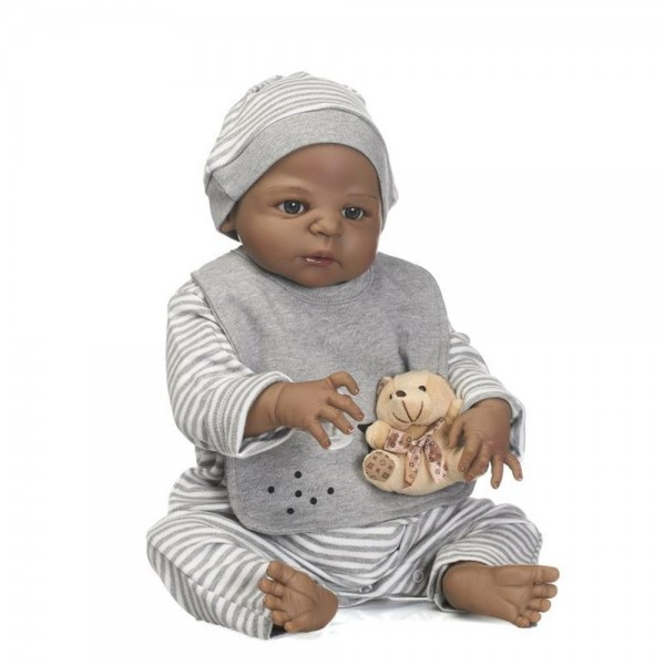 Reborn Newborn Black Boy Baby Full Body Silicone Dolls 22.5 inch