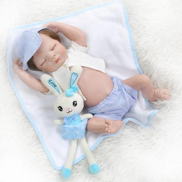 Realistic Newborn Sleeping Baby Boy Doll Lifelike Silicone Reborn Boy Doll 21inch