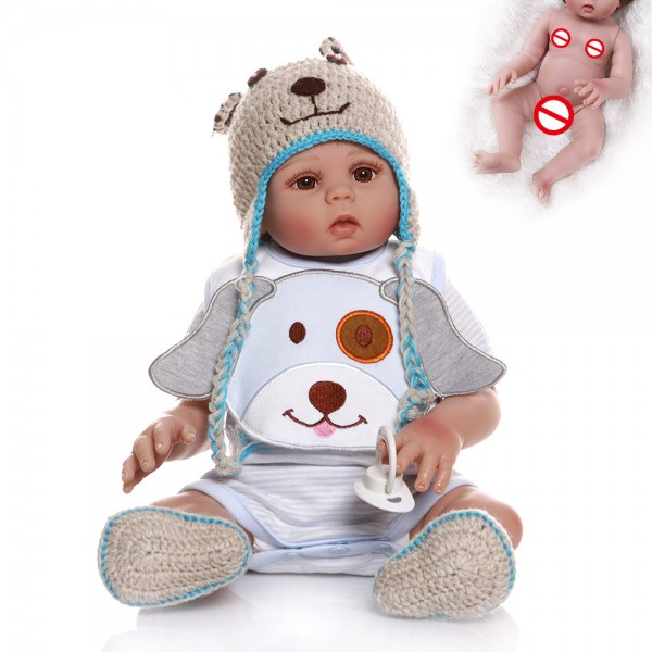 Reborn Baby Boy Doll Full Body Silicone Realistic Baby 19inches